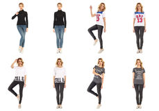 Collage of fashionable young woman blonde in jeans Royalty Free Stock Images