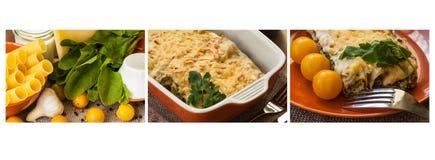Collage - 3 fasi di cottura dei cannelloni Fotografia Stock