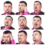 Collage of fat businessman with different emotions Stock Photo