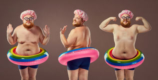 Collage fat funny man in a swimsuit with an inflatable circle.