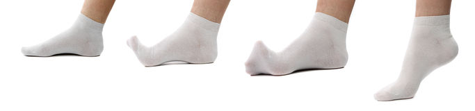 Collage Feet In White Socks. Royalty Free Stock Photography