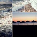 Collage felice della foto di tema di estate composto di immagini colorized del mare delle siluette degli ombrelli di spiaggia e d Fotografia Stock