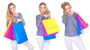 Collage feliz de la muchacha del comprador Imagen de archivo libre de regalías
