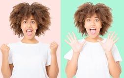 Collage feliz de la mujer oscura joven de la piel en fondo colorido en ropa de la camiseta Copie el espacio Mofa para arriba Plan fotos de archivo