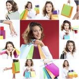Collage feliz de las compras de la mujer imágenes de archivo libres de regalías