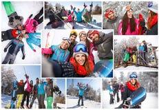 Collage feliz del esquí de la gente foto de archivo libre de regalías