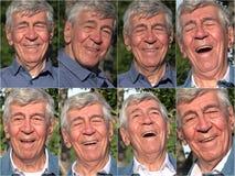 Collage feliz del viejo hombre fotografía de archivo libre de regalías