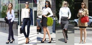 Collage fem affärskvinnor Fotografering för Bildbyråer
