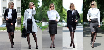 Collage fem affärskvinnor Arkivbilder