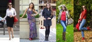Collage fem unga kvinnor för mode arkivfoto