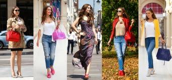 Collage fem unga kvinnor för mode fotografering för bildbyråer