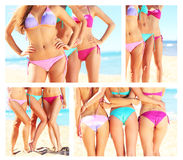 A collage of female bodies in bikini on the beach Royalty Free Stock Image