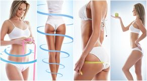 Collage of a female body with arrows. Fat lose, health, sport, fitness, nutrition, liposuction, healthy life-style concept stock photo
