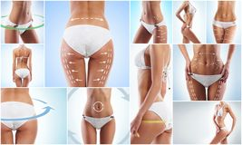 Collage of a female body with arrows. Stock Photography