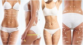 Collage of a female body with arrows. stock photo