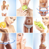 Collage of female body parts and fresh fruits royalty free stock photography