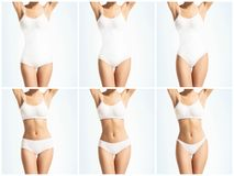 Collage of a female body in white underwear. Health, sport, fitness, nutrition, weight loss, diet, cellulite removal. Liposuction, healthy life-style concept royalty free stock photography