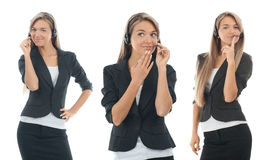 Collage of female call center operator Royalty Free Stock Photos