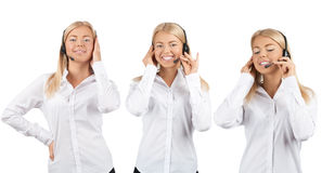 Collage of female call center operator Royalty Free Stock Photo