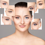 Collage of female faces in makeup Royalty Free Stock Photo