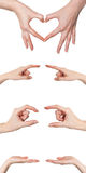 Collage of female hands showing various gestures isolated Royalty Free Stock Image