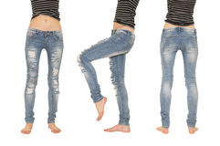 Collage female legs in jeans Royalty Free Stock Photo