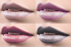 Collage of female lips covered in lipstick Royalty Free Stock Image