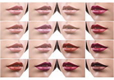 Collage of female lips covered in lipstick Stock Photo