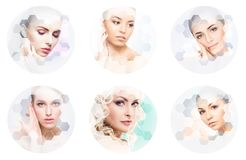 Collage of female portraits. Healthy faces of young women. Spa, face lifting, plastic surgery collage concept. Royalty Free Stock Photo