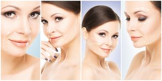 Collage of female portraits. Healthy faces of young women. Spa, face lifting, plastic surgery concept. Collage of female portraits. Healthy faces of young women stock image