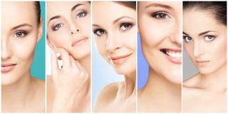 Collage of female portraits. Healthy faces of young women. Spa, face lifting, plastic surgery concept. Collage of female portraits. Healthy faces of young women royalty free stock photos