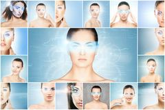 Collage of female portraits with holograms. Collage of women with digital laser holograms on their eyes. Ophthalmology, eye surgery and identity scanning stock images
