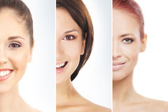 A collage of female portraits in makeup Stock Photos