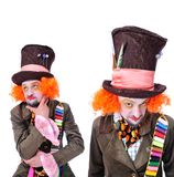 Collage of few pictures. Mad hatter`s different facial emotions. Royalty Free Stock Photos