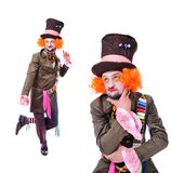 Collage of few pictures. Mad hatter`s different facial emotions. Royalty Free Stock Image
