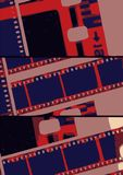 Collage old film strip in lab variations. A background collage of old dirty 35mm film Stock Photography