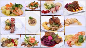 Collage of a fine dining meal. 12 plates Royalty Free Stock Photos