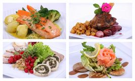 Collage of a fine dining meal. 4 plates Royalty Free Stock Photo