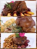Collage of a fine dining meal. Collage of meat dinner with an accompaniment of potatoes, onions and peaches Royalty Free Stock Photography