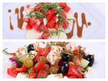 Collage of a fine dining meal. Collage of vegetarian dinner with an accompaniment of feta, olives and tomatoes Royalty Free Stock Images