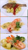 Collage of a fine dining meal Stock Images