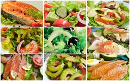 Collage fish avocado salad royalty free stock images