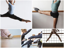 Collage of fit women practicing ballet dance Royalty Free Stock Photo