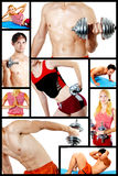 Collage. Fitness center. Concept. Men and women are engaged in fitness with dumbbells, on a rug. Train, work out stock photography