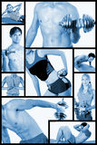 Collage. Fitness center. Concept. Men and women are engaged in fitness with dumbbells, on a rug. Train, work out stock image