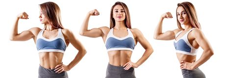 Collage of fitness woman in sportswear. Collage of fitness woman standing with her hands on belt. Athletic woman in sportswear isolated on white stock photos