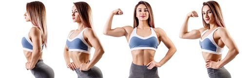Collage of fitness woman in sportswear. Collage of fitness woman standing with her hands on belt. Athletic woman in sportswear isolated on white royalty free stock photo