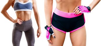 Collage of fitness woman standing with her hands on belt. Athletic woman in sportswear isolated on white royalty free stock photography