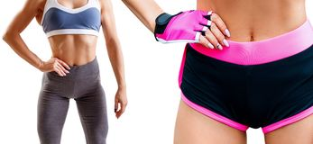 Collage of fitness woman standing with her hands on belt. Athletic woman in sportswear isolated on white stock photos