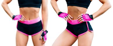 Collage of fitness woman standing with her hands on belt. Athletic woman in sportswear isolated on white stock image